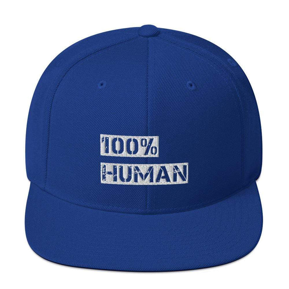 100% Human Snapback Hat Royal Blue Political-Activist-Socialist-Fashion -Art-And-Design