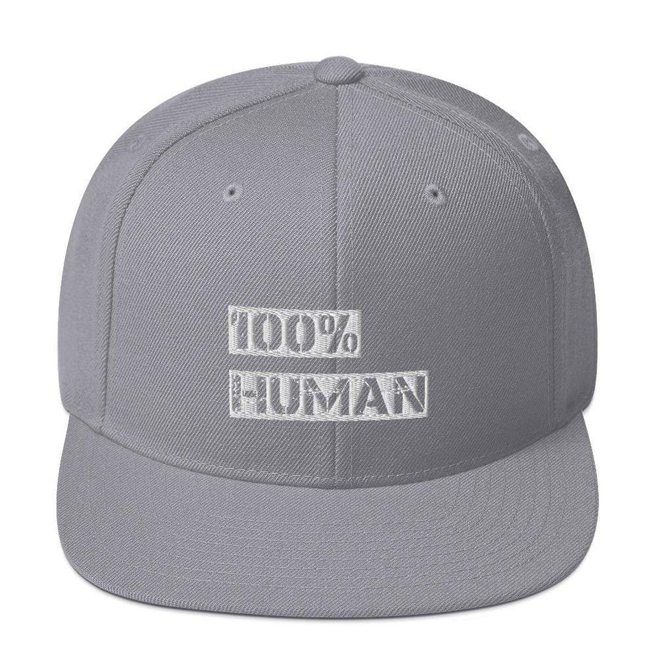 100% Human Snapback Hat Silver Political-Activist-Socialist-Fashion -Art-And-Design