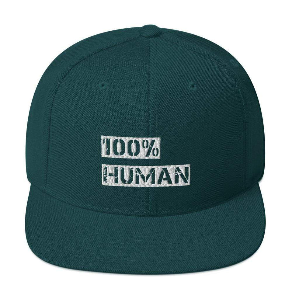 100% Human Snapback Hat Spruce Political-Activist-Socialist-Fashion -Art-And-Design