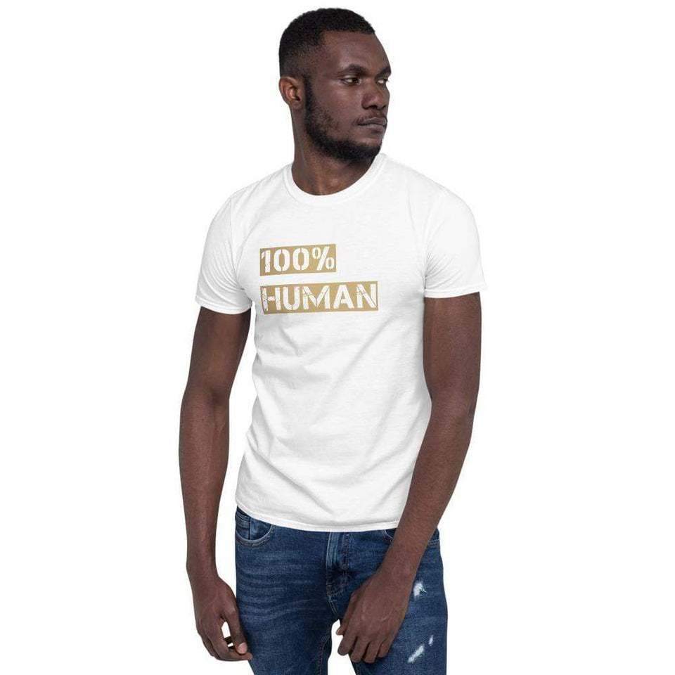 100% Human T-Shirt White / S Political-Activist-Socialist-Fashion -Art-And-Design
