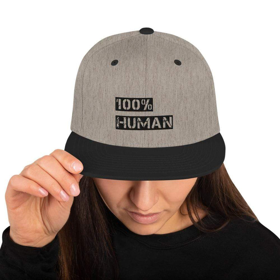 100% Human Snapback Hat Heather/Black Political-Activist-Socialist-Fashion -Art-And-Design