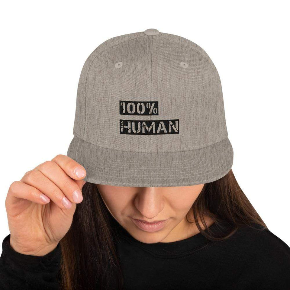 100% Human Snapback Hat Heather Grey Political-Activist-Socialist-Fashion -Art-And-Design