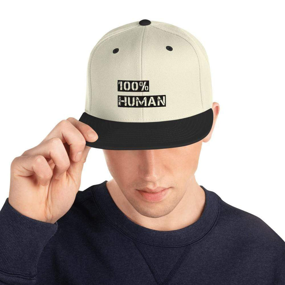 100% Human Snapback Hat Political-Activist-Socialist-Fashion -Art-And-Design