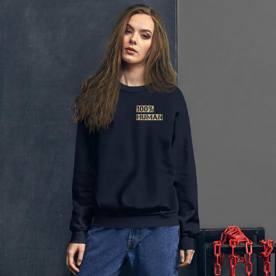 100% Human Sweatshirt Navy / S Political-Activist-Socialist-Fashion -Art-And-Design