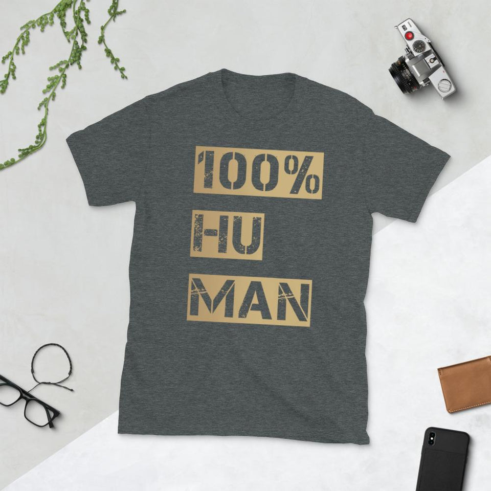 100% Human T-Shirt Bold Dark Heather / S Political-Activist-Socialist-Fashion -Art-And-Design