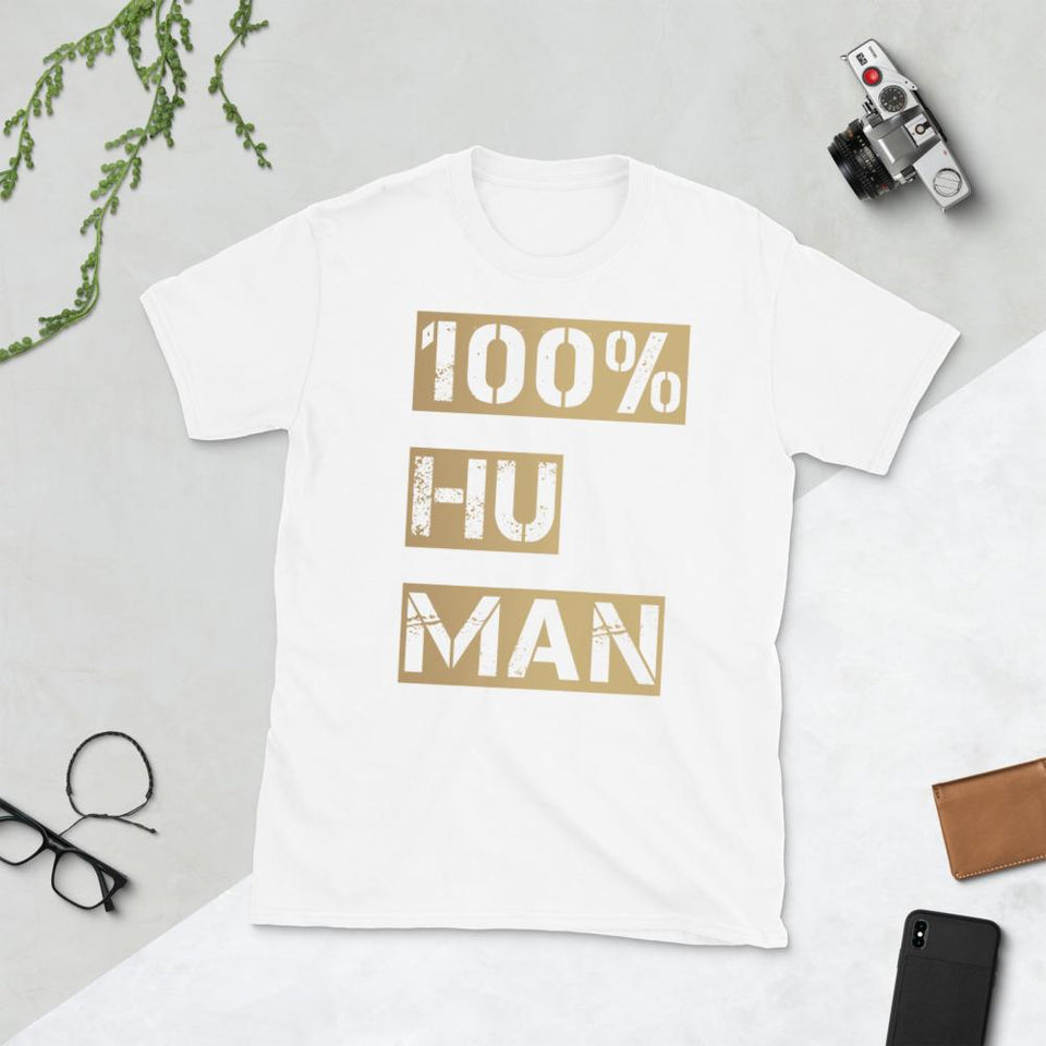 100% Human T-Shirt Bold White / S Political-Activist-Socialist-Fashion -Art-And-Design