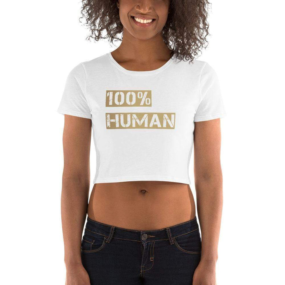100% Human Women's Crop Tee Political-Activist-Socialist-Fashion -Art-And-Design