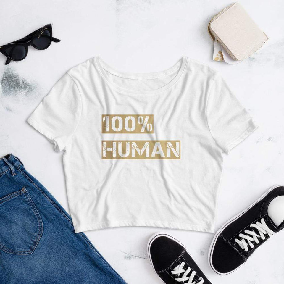 100% Human Women's Crop Tee White / XS/SM Political-Activist-Socialist-Fashion -Art-And-Design