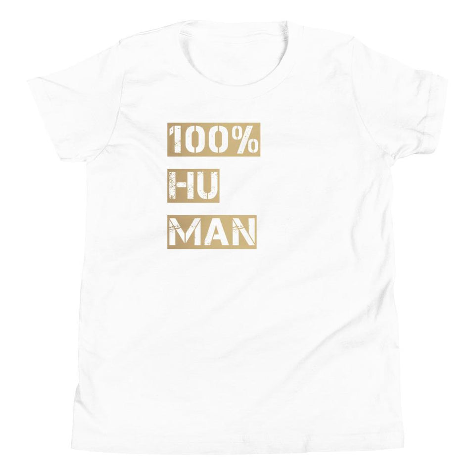 100% Human Youth T-Shirt Political-Activist-Socialist-Fashion -Art-And-Design