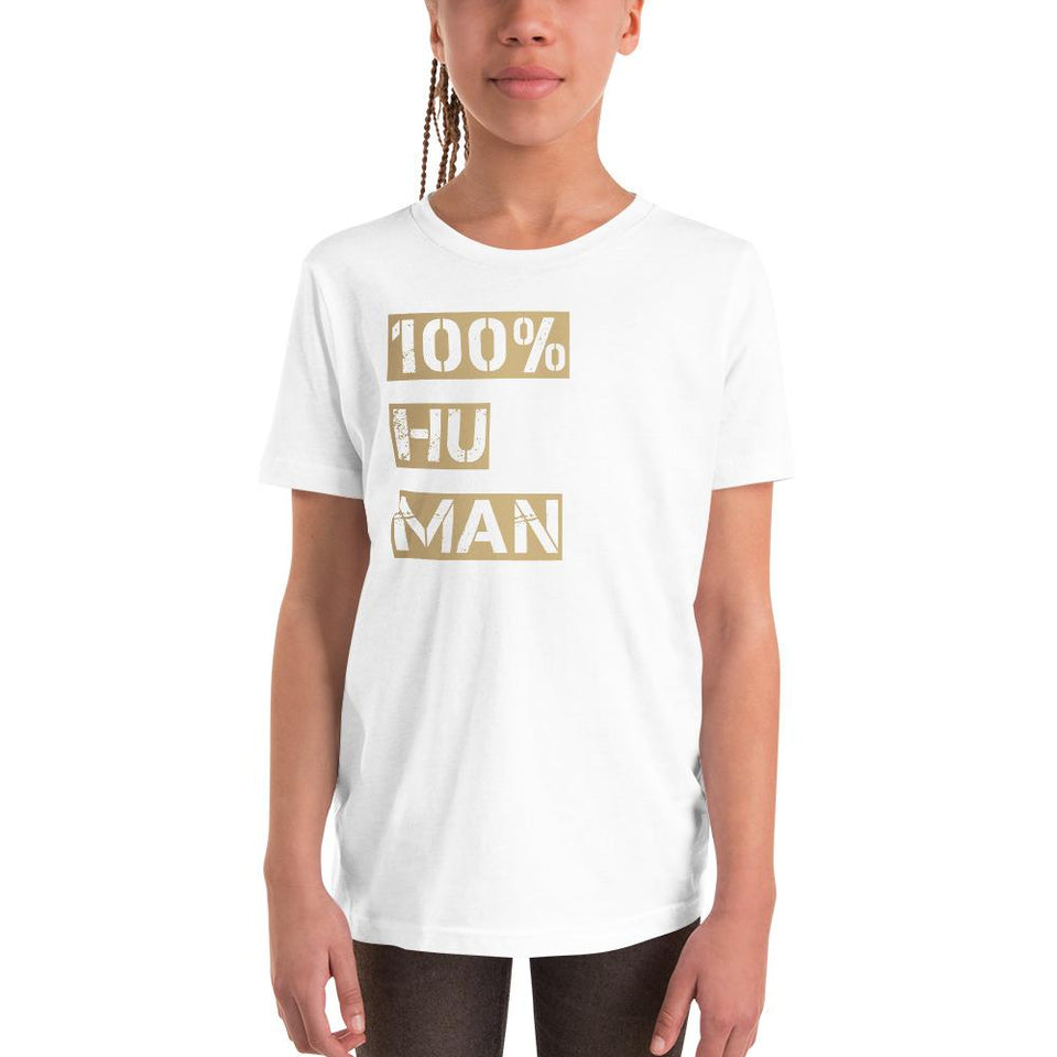 100% Human Youth T-Shirt White / S Political-Activist-Socialist-Fashion -Art-And-Design