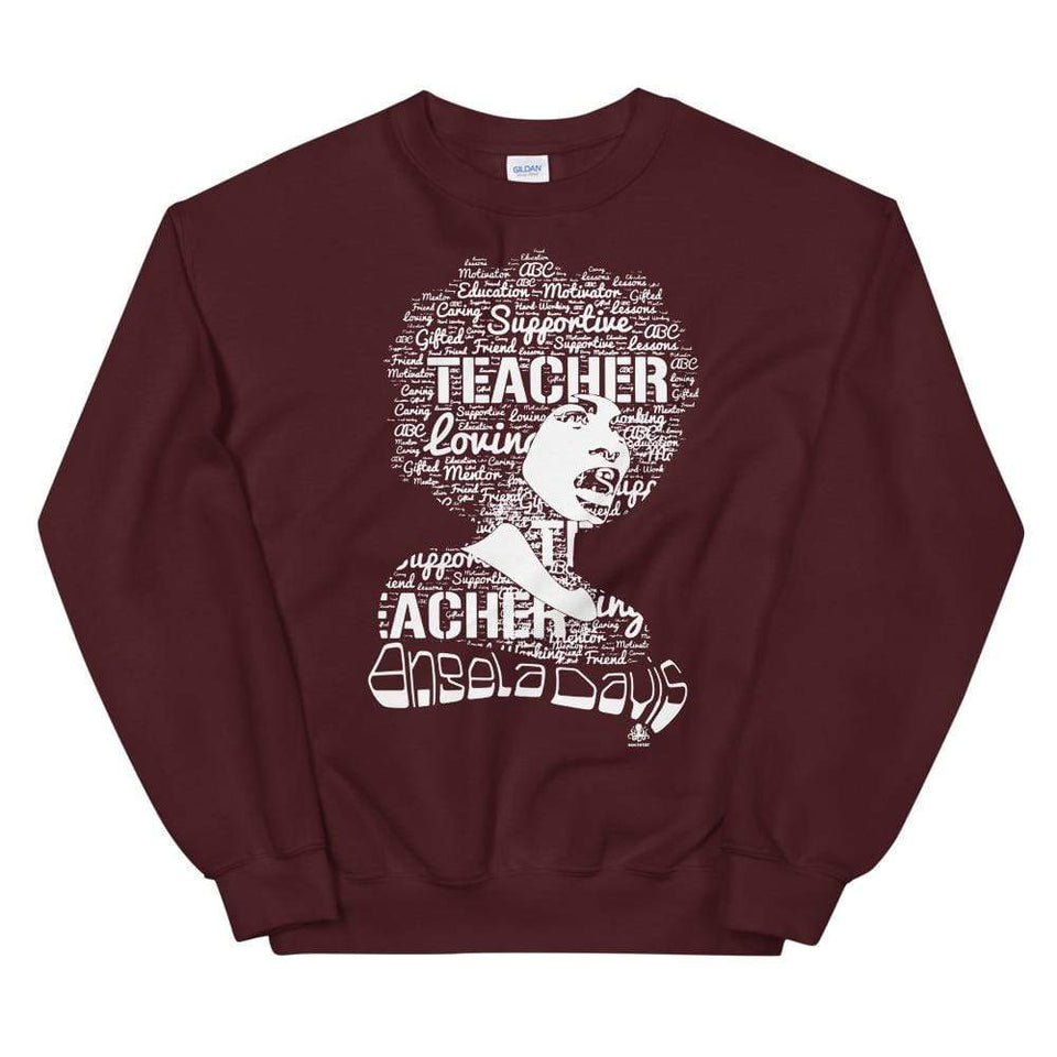 Angela Y. Davis Sweatshirt Maroon / S Political-Activist-Socialist-Fashion -Art-And-Design