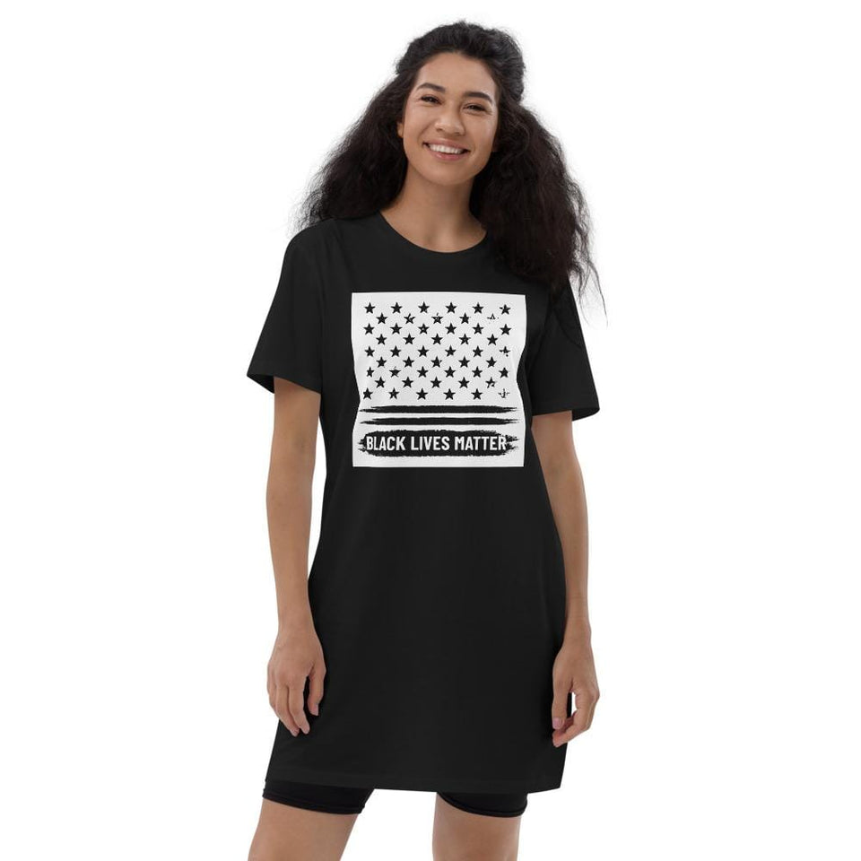 BLM Organic t-shirt dress Black / XS Political-Activist-Socialist-Fashion -Art-And-Design