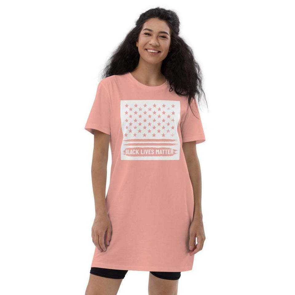BLM Organic t-shirt dress Canyon Pink / XS Political-Activist-Socialist-Fashion -Art-And-Design