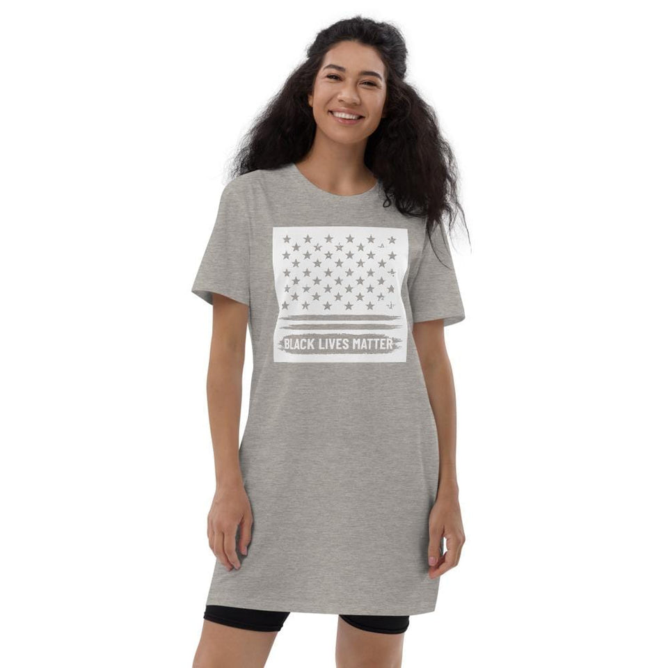 BLM Organic t-shirt dress Heather Grey / XS Political-Activist-Socialist-Fashion -Art-And-Design