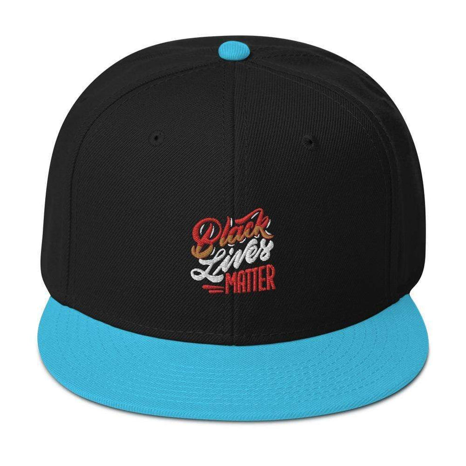 Black Lives Matter Snapback Hat Aqua blue / Black / Black Political-Activist-Socialist-Fashion -Art-And-Design