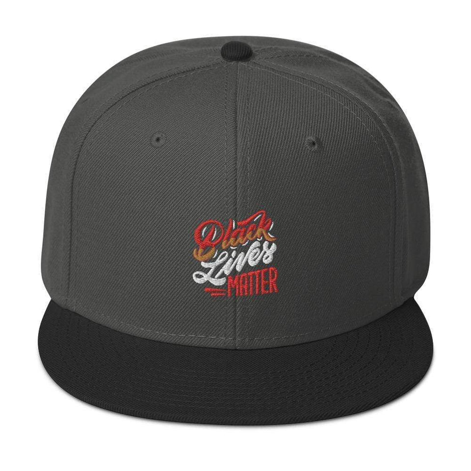 Black Lives Matter Snapback Hat Black / Charcoal gray / Charcoal gray Political-Activist-Socialist-Fashion -Art-And-Design