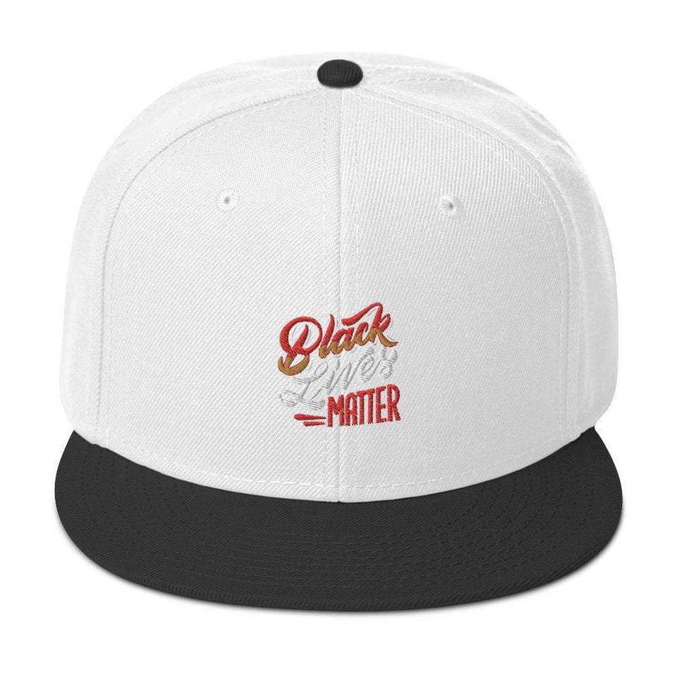 Black Lives Matter Snapback Hat Black / White / White Political-Activist-Socialist-Fashion -Art-And-Design