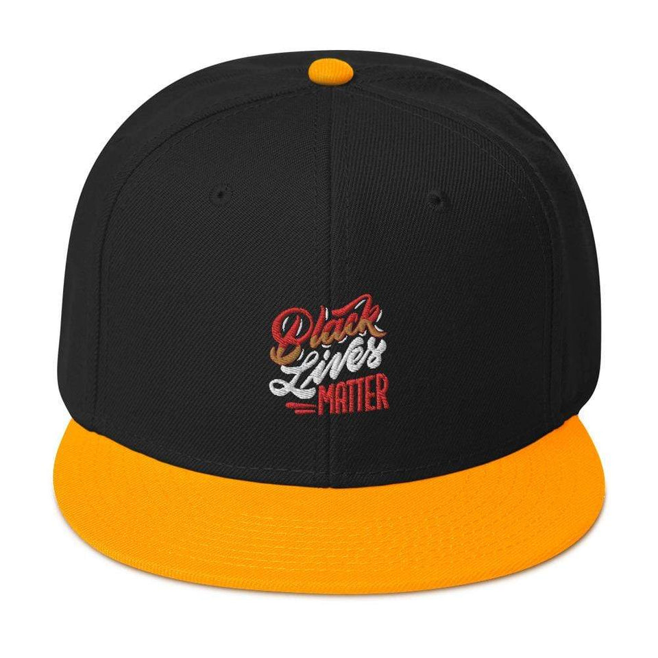 Black Lives Matter Snapback Hat Gold / Black / Black Political-Activist-Socialist-Fashion -Art-And-Design