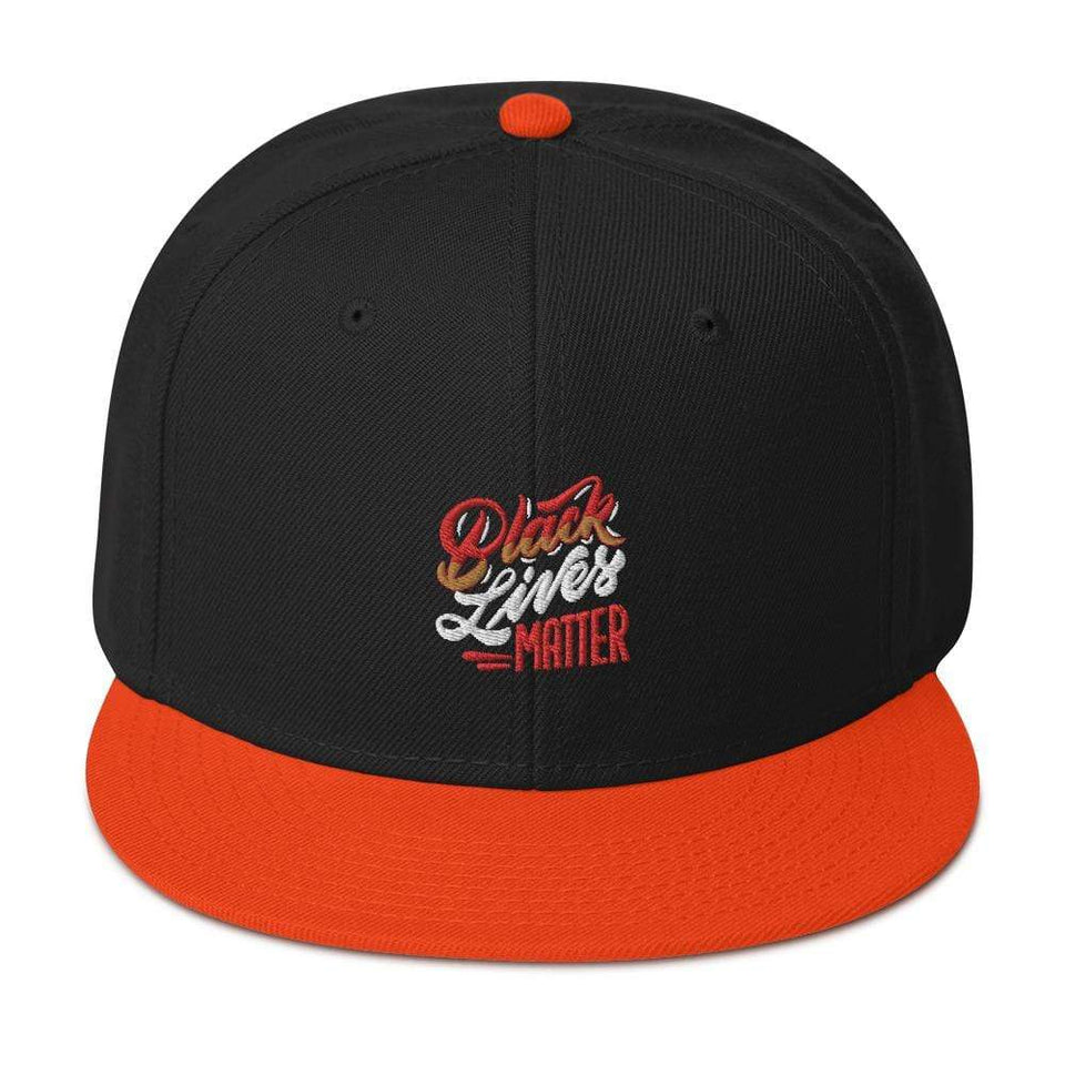 Black Lives Matter Snapback Hat Orange / Black / Black Political-Activist-Socialist-Fashion -Art-And-Design