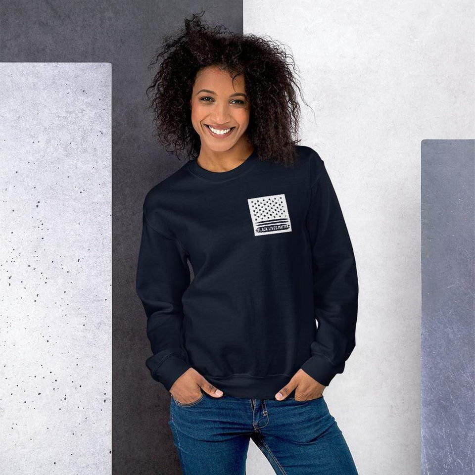 BLM Sweatshirt Navy / S Political-Activist-Socialist-Fashion -Art-And-Design