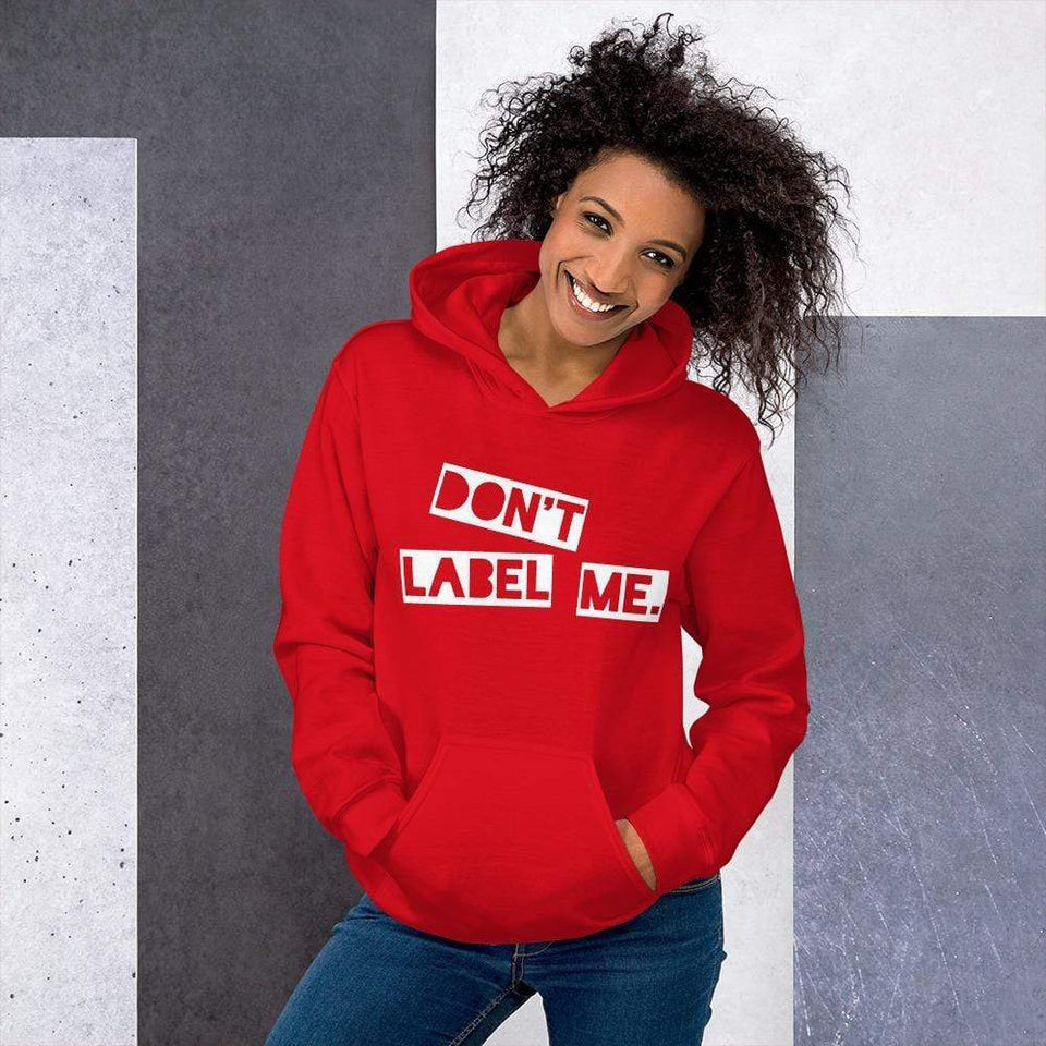 Don't Label Me Hoodie Red / S Political-Activist-Socialist-Fashion -Art-And-Design