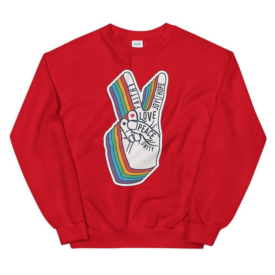 Peace Sweatshirt Red / S Political-Activist-Socialist-Fashion -Art-And-Design