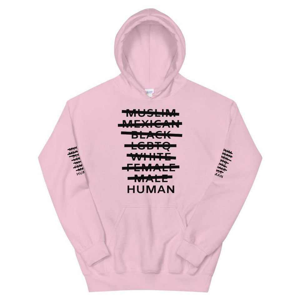 Human Hoodie Light Pink / S Political-Activist-Socialist-Fashion -Art-And-Design