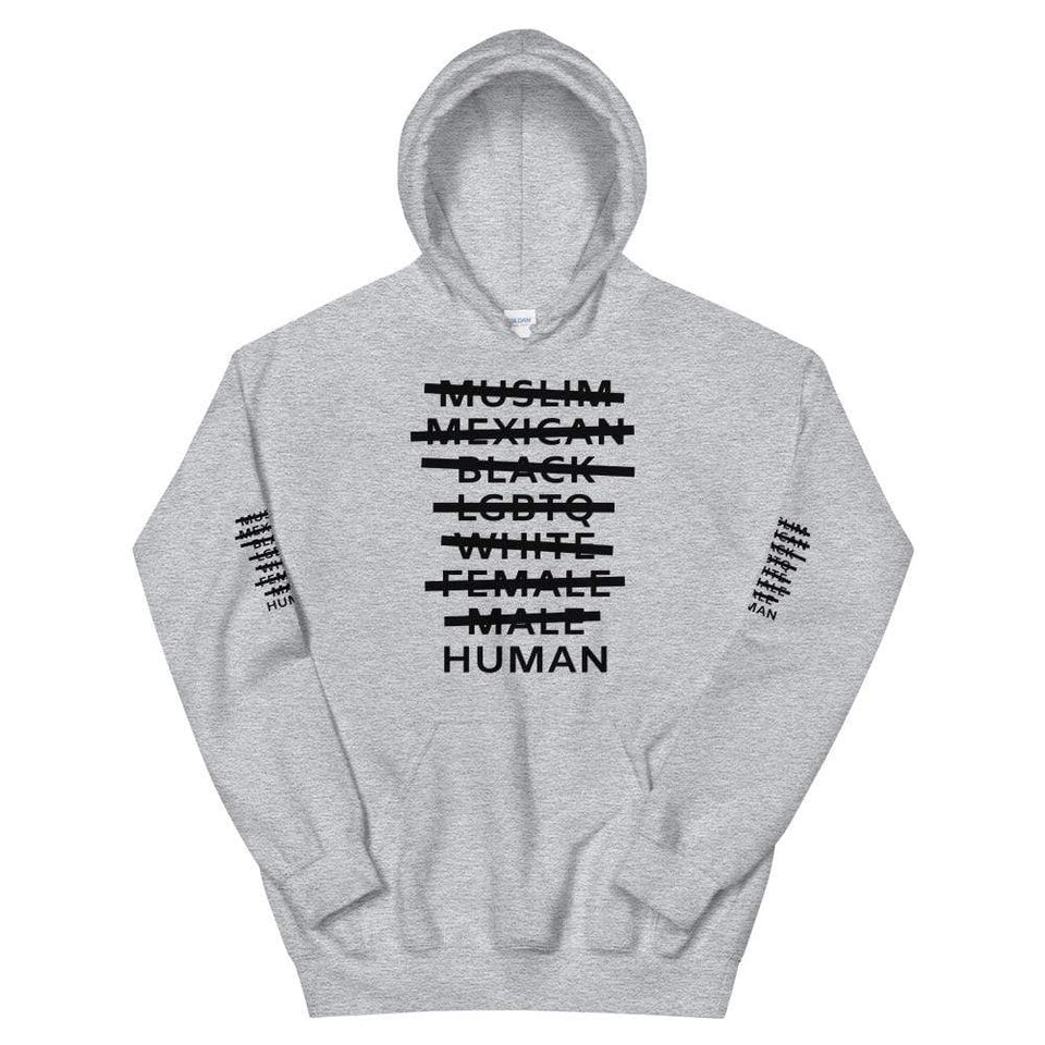 Human Hoodie Sport Grey / S Political-Activist-Socialist-Fashion -Art-And-Design
