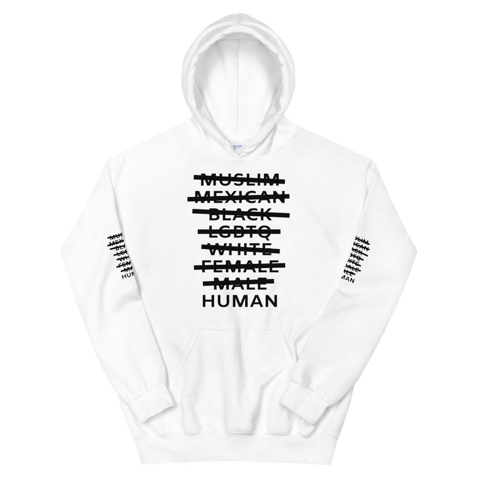 Human Hoodie White / S Political-Activist-Socialist-Fashion -Art-And-Design