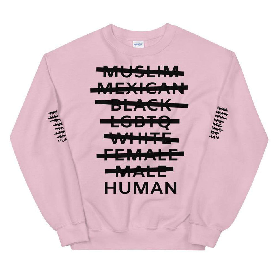 Human Sweatshirt Light Pink / S Political-Activist-Socialist-Fashion -Art-And-Design