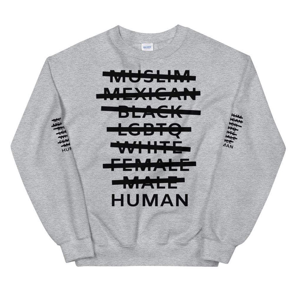 Human Sweatshirt Sport Grey / S Political-Activist-Socialist-Fashion -Art-And-Design