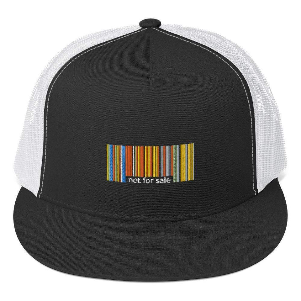 Not for Sale Trucker Cap Black/ White Political-Activist-Socialist-Fashion -Art-And-Design