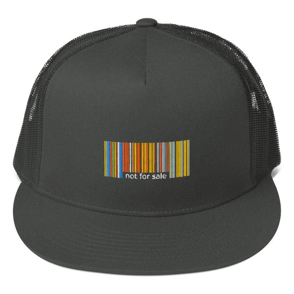 Not for Sale Trucker Cap Charcoal Political-Activist-Socialist-Fashion -Art-And-Design
