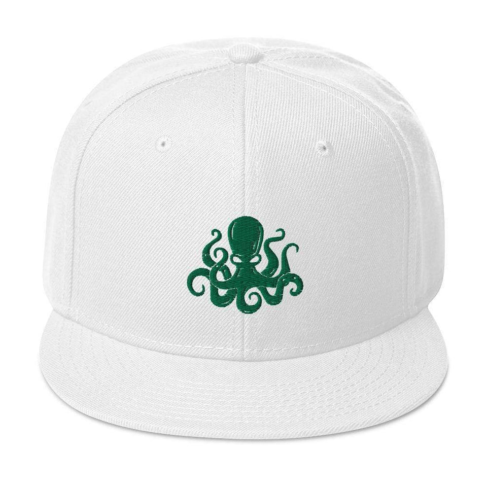 Octopus Snapback Hat White Political-Activist-Socialist-Fashion -Art-And-Design