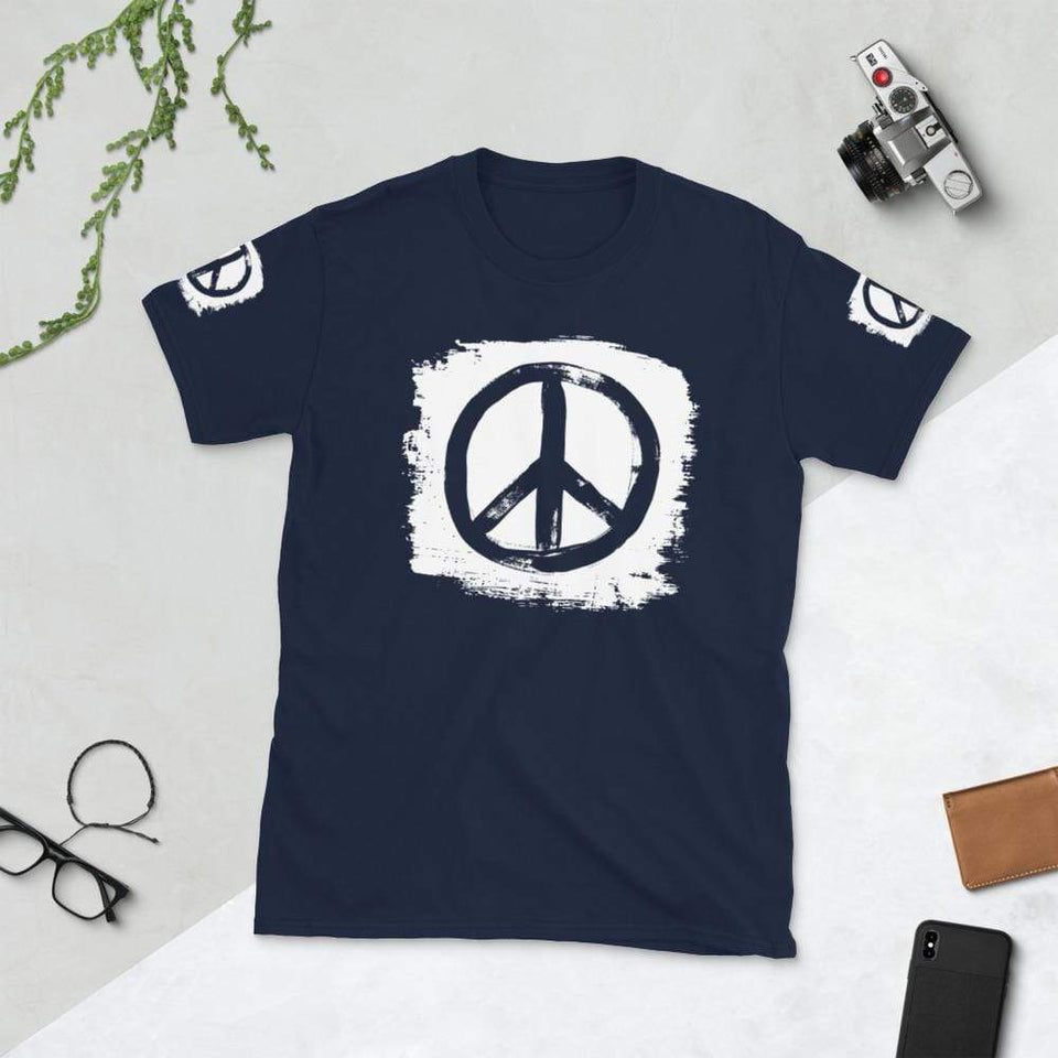 Peace T-Shirt Navy / S Political-Activist-Socialist-Fashion -Art-And-Design