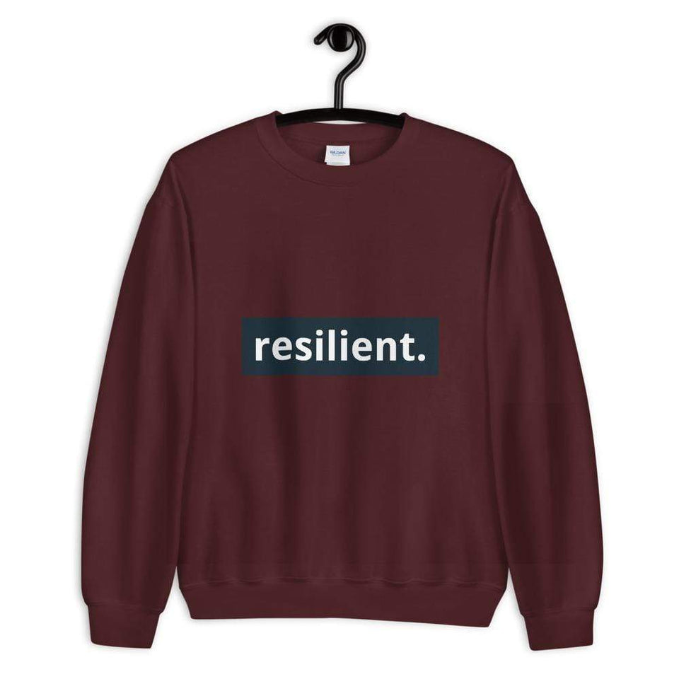 Resilient Sweatshirt Maroon / S Political-Activist-Socialist-Fashion -Art-And-Design
