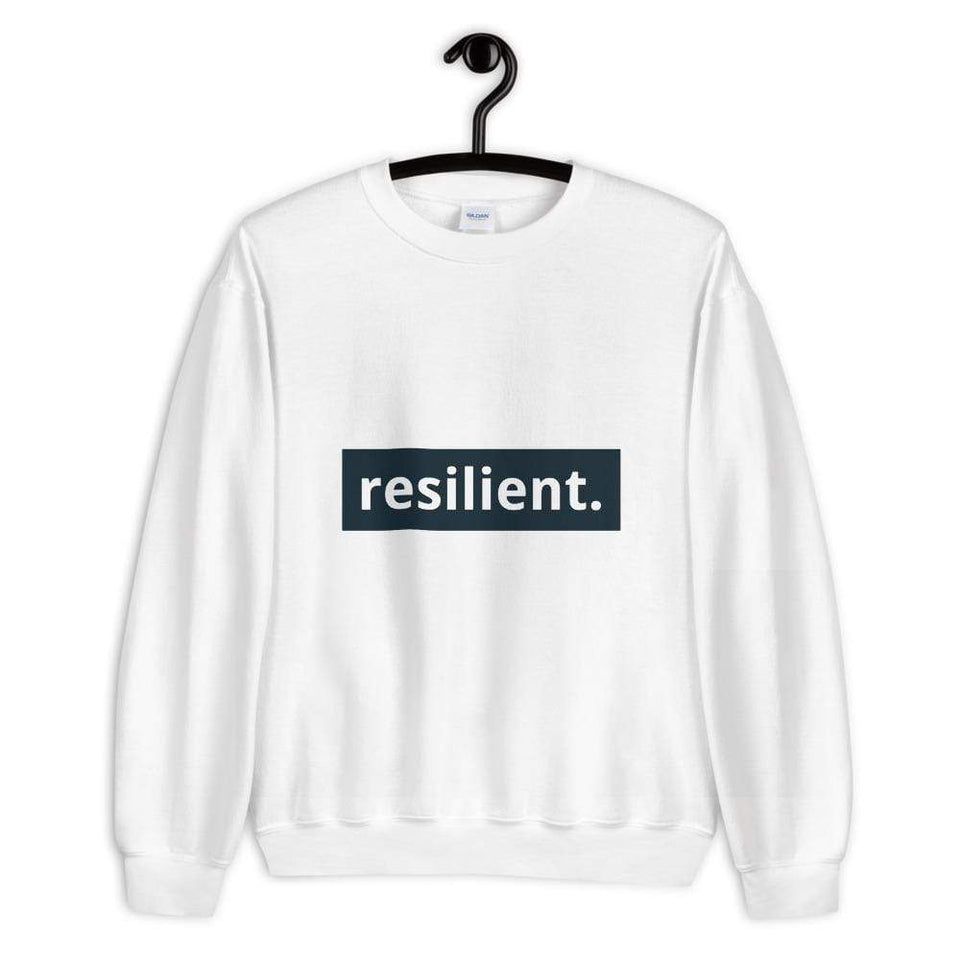 Resilient Sweatshirt White / S Political-Activist-Socialist-Fashion -Art-And-Design