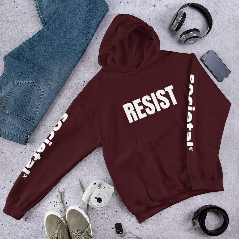 Resist Hoodie Maroon / S Political-Activist-Socialist-Fashion -Art-And-Design