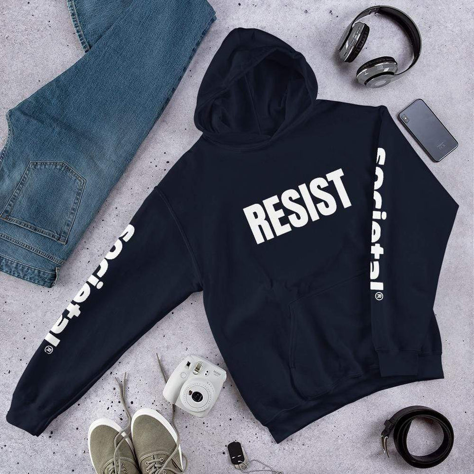 Resist Hoodie Navy / S Political-Activist-Socialist-Fashion -Art-And-Design