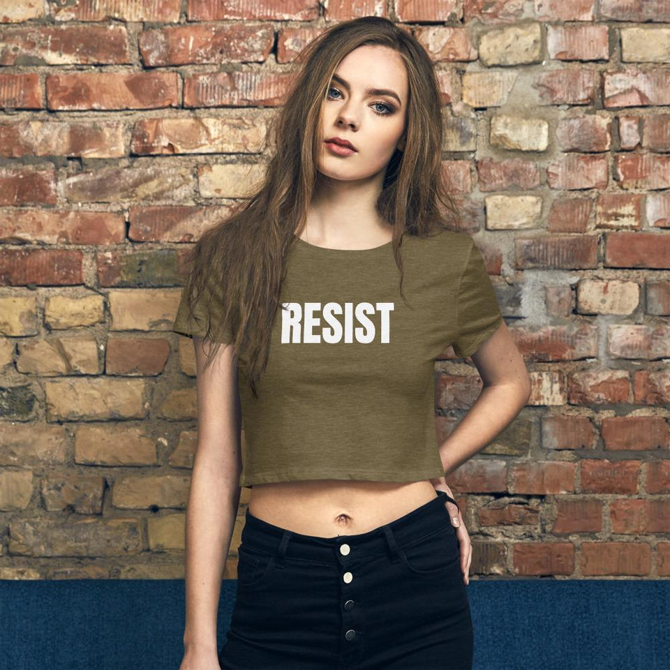 Resist Crop Tee Heather Olive / XS/SM Political-Activist-Socialist-Fashion -Art-And-Design