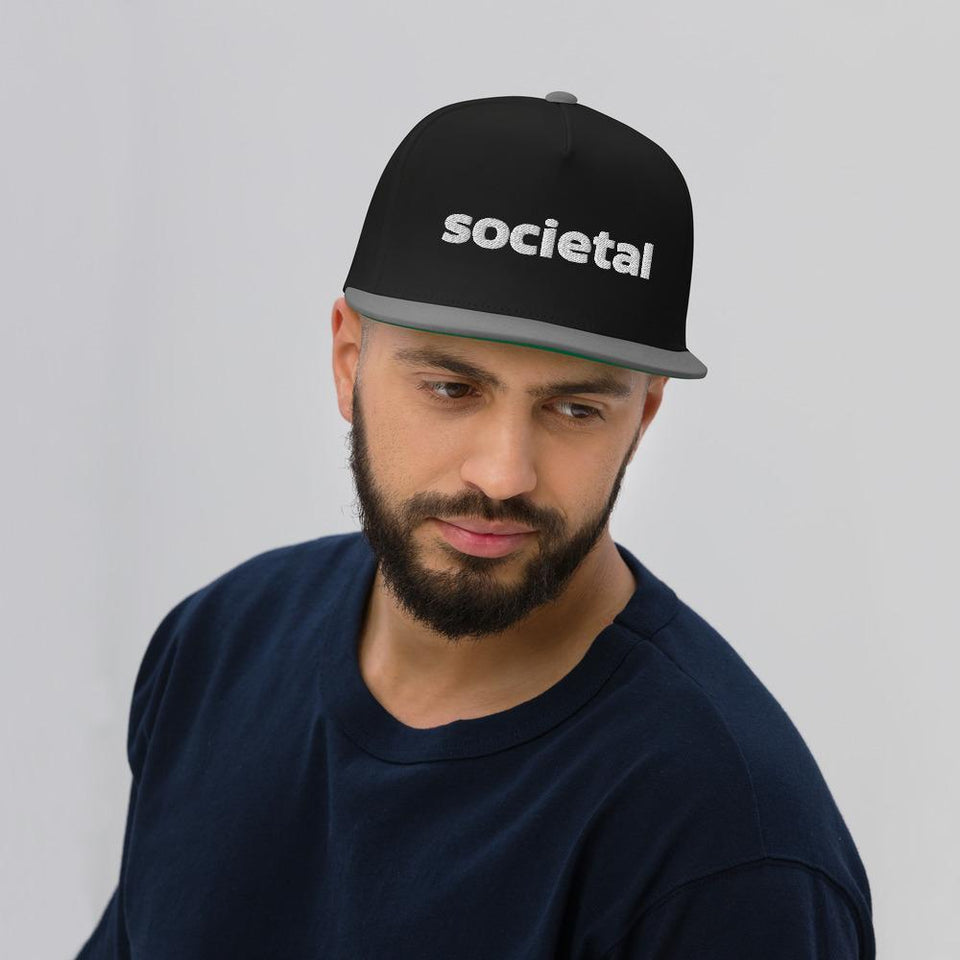 Societal Flat Bill Cap Black/ Grey Political-Activist-Socialist-Fashion -Art-And-Design