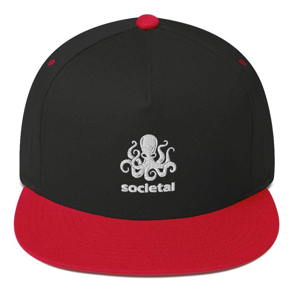 Societal Flat Bill Cap Black/ Red Political-Activist-Socialist-Fashion -Art-And-Design