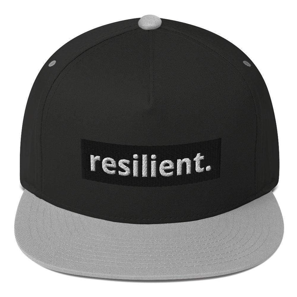 Reilient Flat Bill Cap Black/ Grey Political-Activist-Socialist-Fashion -Art-And-Design