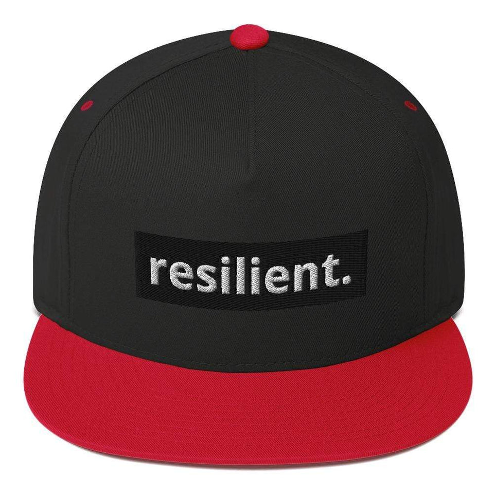 Reilient Flat Bill Cap Black/ Red Political-Activist-Socialist-Fashion -Art-And-Design