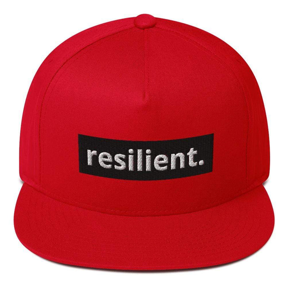 Reilient Flat Bill Cap Red Political-Activist-Socialist-Fashion -Art-And-Design