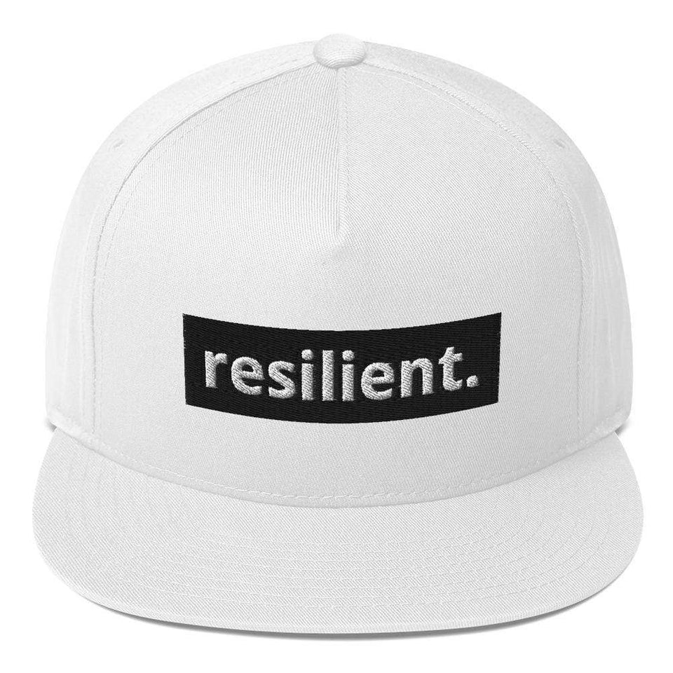Reilient Flat Bill Cap White Political-Activist-Socialist-Fashion -Art-And-Design