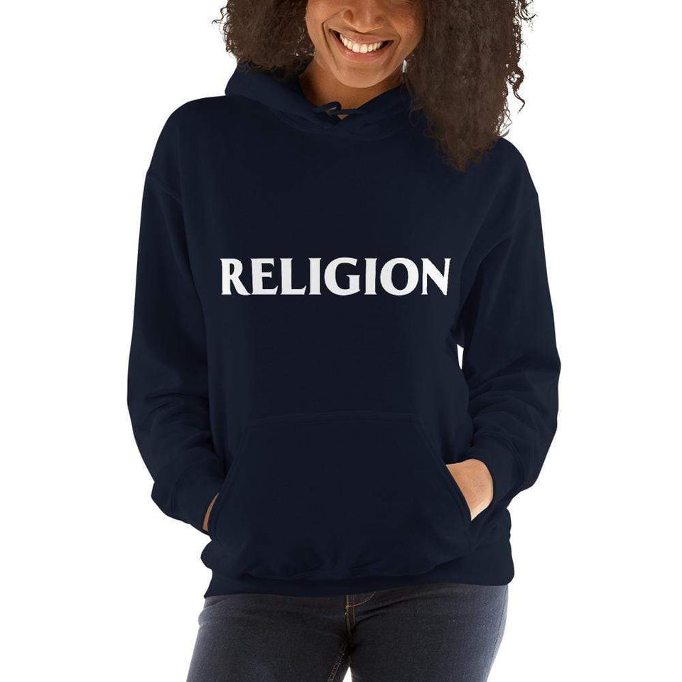 Religion Hoodie Navy / S Political-Activist-Socialist-Fashion -Art-And-Design