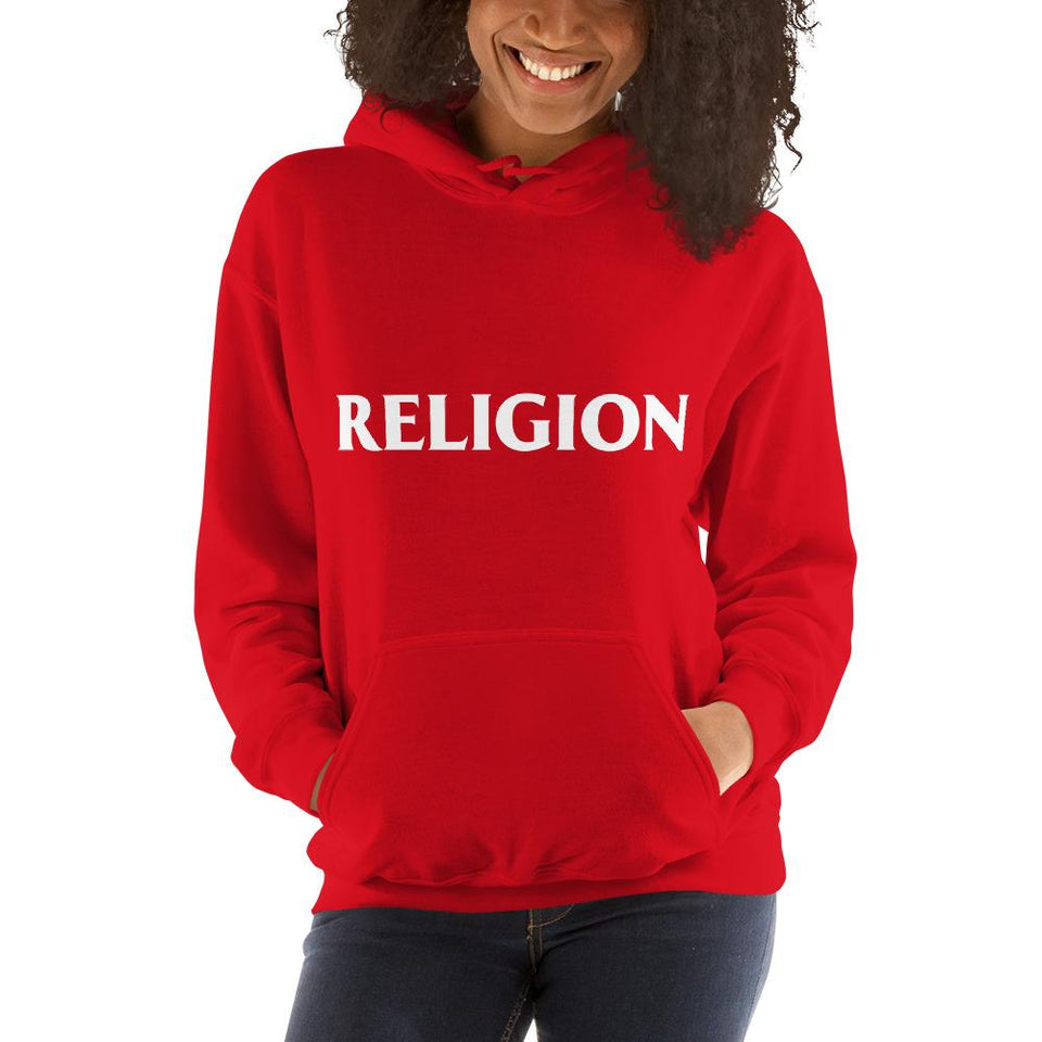 Religion Hoodie Red / S Political-Activist-Socialist-Fashion -Art-And-Design