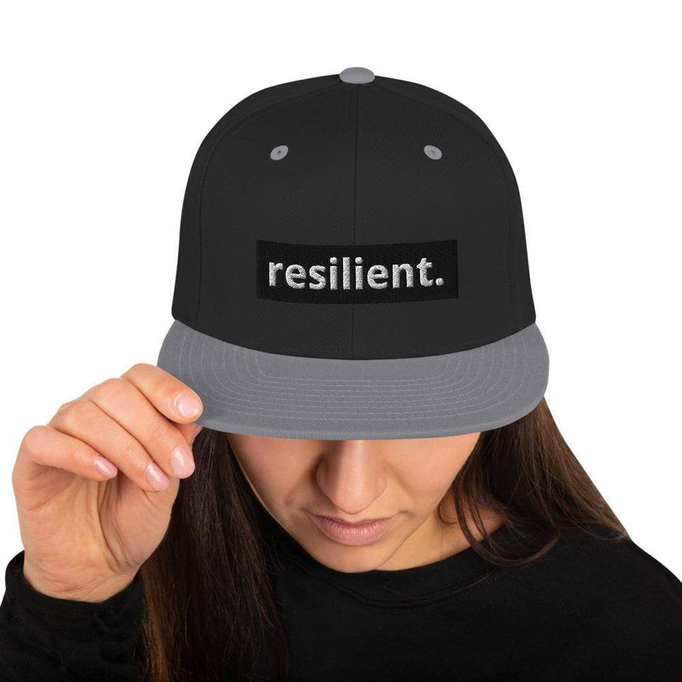Resilient Snapback Hat Black/ Silver Political-Activist-Socialist-Fashion -Art-And-Design
