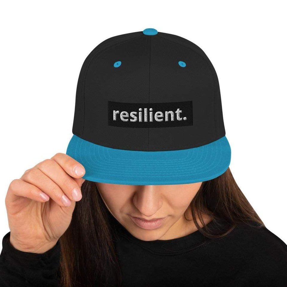 Resilient Snapback Hat Black/ Teal Political-Activist-Socialist-Fashion -Art-And-Design